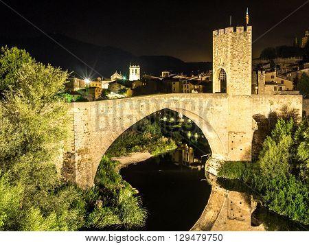 The Besalu bridge at night, Catalonia, Spain