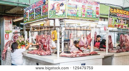 Lima, Peru - October 13 2014 - A little store selling meat in the Mercado de Surquillo in Lima (Peru)