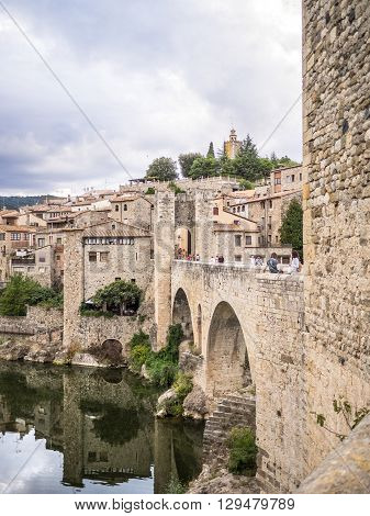 Besalu Spain - August 16 2014 - The bridge of the old Besalu village