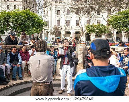 Lima, Peru - October 11 2014 - A preacher performing his speech in the San Martin square in downtown Lima (Peru).