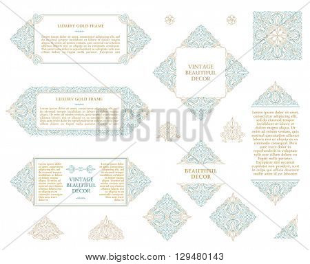 Arabic vector set of frames and lines of art design template. Muslim outline elements and emblems. Eastern floral frame. Logos lines decor for menu, postcard, restaurant, wedding invitation