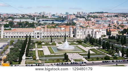 Belem Portugal - April 28 2014: Panoramic view of the Jeronimos monastery Belem POrtugal