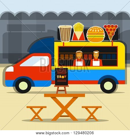 Food truck festival. Street food truck with seller and seating areas.