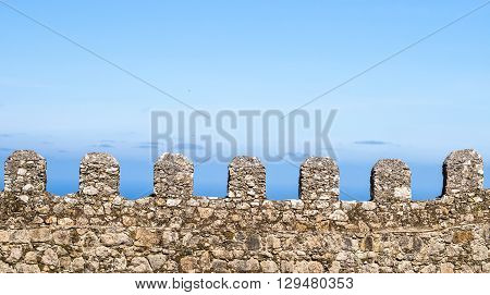 View of a line of battlement in the Castle of the Moors in Sintra Portugal