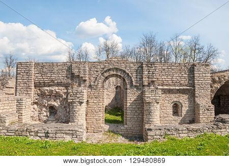 The ruins of an ancient fortress in Pskov