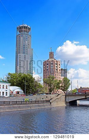MOSCOW, RUSSIA - JUNE 05, 2013: Business and cultural complex Riverside towers ( Moscow International House of Music Swissotel Krasnye Holmy Art-Gallery etc), Moscow, Russia