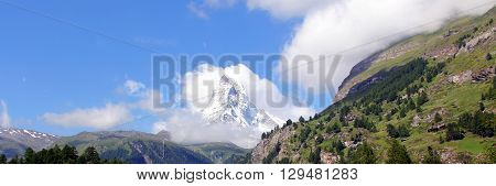 The Legendary Matterhorn Peak In Clouds, Switzerland