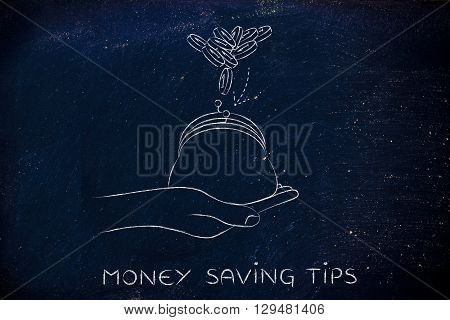 Hand With Purse And Coins Dropped Inside, Money Saving Tips