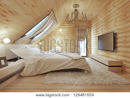 Luxurious bedroom in modern style with a roof window in the log house. TV with a media console. 3D render.