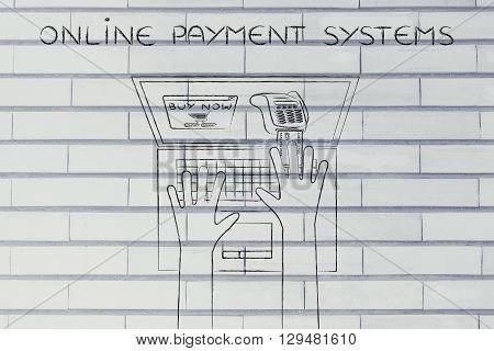 Laptop User Inserting Credit Card Into Virtual Pos, Online Payments Systems