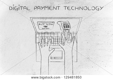 Laptop User Inserting Credit Card Into Virtual Pos, Digital Payment Technology