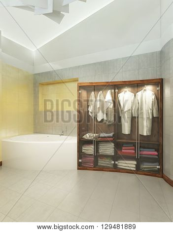 Wooden cabinet for underwear and towel with bathrobes with transparent doors of glass in a modern bathroom. 3D render.