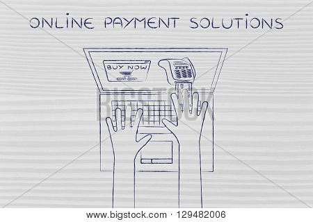 Laptop User Inserting Credit Card Into Virtual Pos, Online Payment Solutions