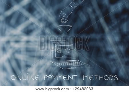 Hand Dropping Coin Into Laptop Through A Funnel, Online Payment Methods
