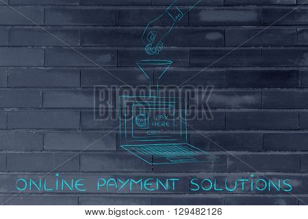 Hand Dropping Coin Into Laptop Through A Funnel, Payment Solutions