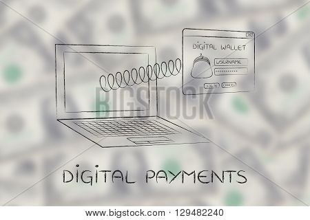 Digital Wallet Pop-up With Spring Out Of Laptop, Digital Payments