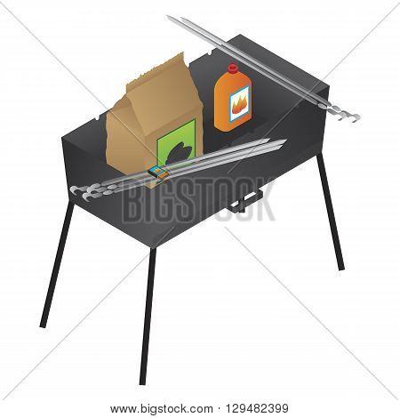 Vector brazier liquid fire and coal illustration