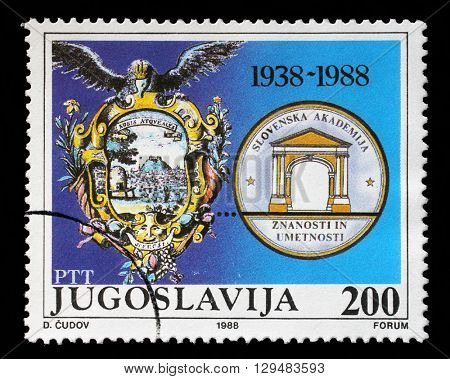 ZAGREB, CROATIA - JUNE 21: a stamp printed in Yugoslavia shows The 50th Anniversary of the Slovenian Academy for Arts and Sciences, circa 1988, on June 21, 2012, Zagreb, Croatia