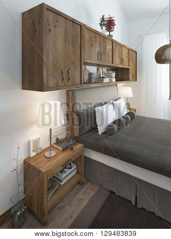 Head of the bed with pillows and bedside tables. Above the bed hanging shelves covered with decorations. Bedroom in rustic style. 3D render.
