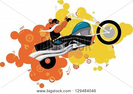 Cartoon biker character, blast of music symbols and gears on the background, EPS 8 vector illustration, no transparencies