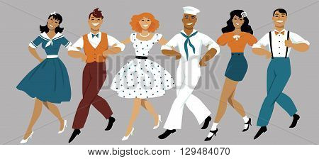 A chorus line of male and female performers dressed in vintage fashion dancing a routine in a classic musical theater, EPS 8 vector illustration