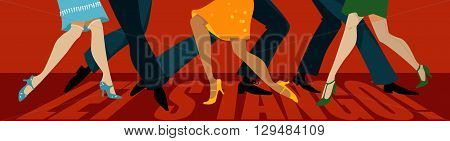 Let's tango banner with legs of three couple dancing tango, EPS vector illustration, no transparencies
