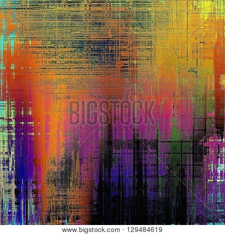 Old vintage backdrop. Original background or aged texture with different color patterns: yellow (beige); red (orange); purple (violet); green; blue; black