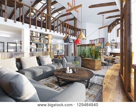 Large living room studio with a kitchenette and a balcony in an organic style. Organic Architecture in interior design. 3D render.