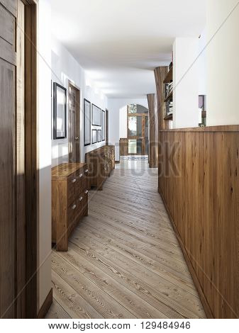 The corridor in a loft-style with wood paneling and paintings on the walls. Against the wall are covered with wooden console patina. 3D render.