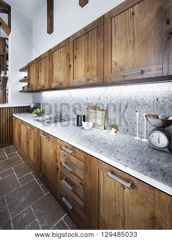 Large beautiful kitchen in a rustic style with an island and hood and built-in appliances. 3D render.
