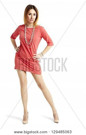 Attractive Woman In Red Dress