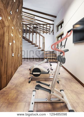 Pool in a private house with gym and climbing wall in the loft style. 3D render.