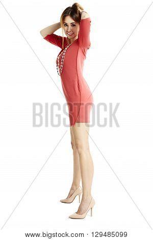 Shapely Woman Adjust Hair