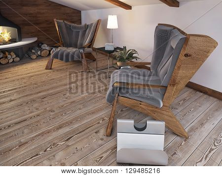 Comfortable seating area of the two chairs by the fireplace in the attic in the loft style. 3D render.