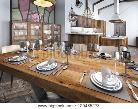 Modern dining room built into the kitchen space. Large dining wooden table for eight people. 3D render.