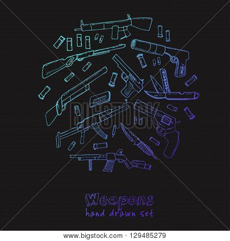 Hand drawn set  of Weapons.  Isolated vector illustration for identity, design, decoration, packages product and interior decoration