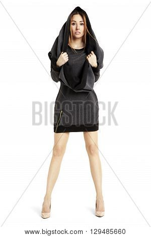 Sensual Woman In Black Mini Dress