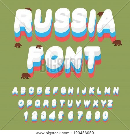 Russian Font. Russian Flag On Letters. National Patriotic Alphabet. Letters And Grizzly Bears