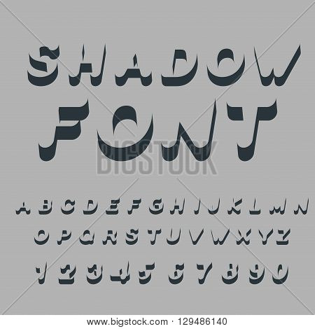 Shadow Font. Set Of Letters Of Drop Shadow. 3D Letters Of Alphabet. Silhouette Abc