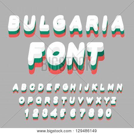 Bulgaria Font. Bulgarian Flag On Letters. National Patriotic Alphabet. 3D Letter. State Symbols Of