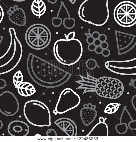 Greyscale fruits seamless vector pattern on black