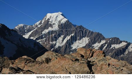 Highest mountain of the Southern Alps. Mt Cook. Beautiful view from the Sealy Tarns Track.