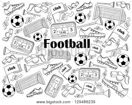 Football design colorless set vector illustration. Coloring book. Black and white line art