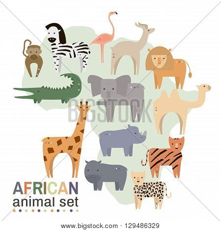 African animals in geometric flat style. Hippo giraffe flamingo elephant lion monkey giraffe rhino zebracrocodile lynxgazelle rhinoceros isolated on white. Vector illustration