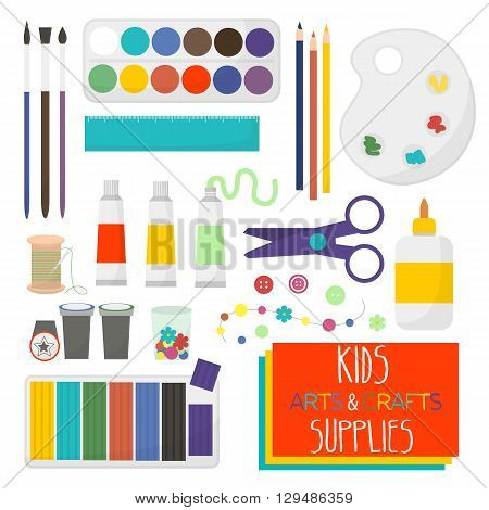 Art crafts items for kids creativity. Watercolor clay scissors glue color paper brush pencilpalette crayonstamp needle. Set of art supplies for kids. Vector illustration