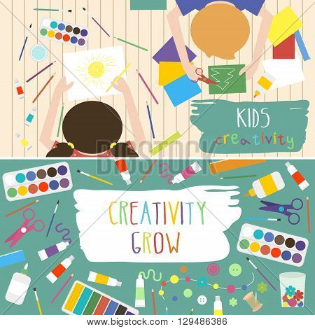 Kids creativity vector illustration. Top view with creative kids hands. Banner flyer for kids art lessons or school.