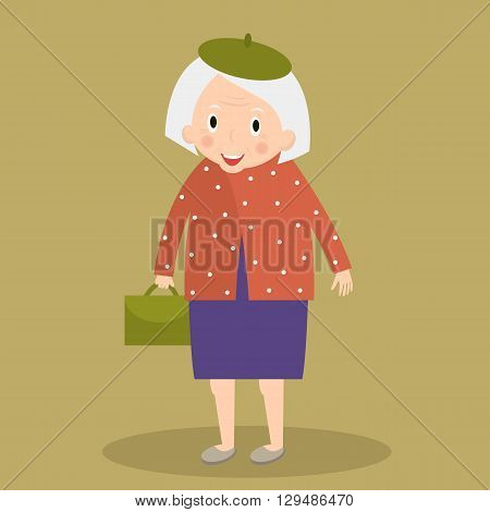 Old woman walking with bag. Grandmother. Cute senior lady walking. Vector illustration.
