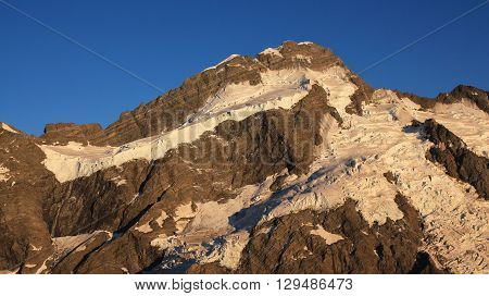 Mt Brunner and glacier. Summer scene near Mt Cook New Zealand. Early morning.