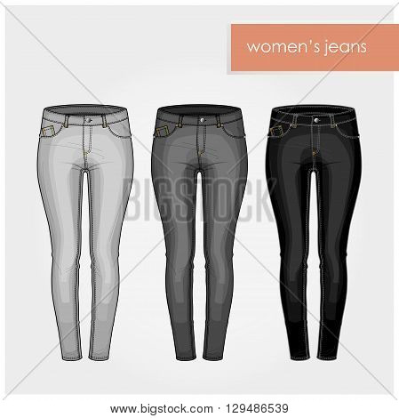 Fashion illustration. Classic skinny woman jeans in gray and black colors.