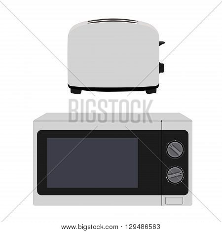 Microwave heater oven and bread toaster vector illustration. White microwave icon. Kitchen equipment.